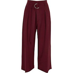Dark red D-ring belted culottes