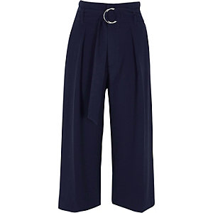 Navy D-ring belted culottes