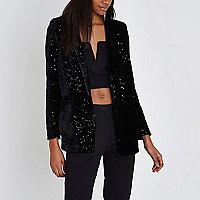 Black velvet sequin embellished blazer