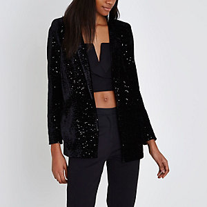 Black velvet sequin embellished blazer