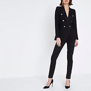Black satin trim double breasted blazer