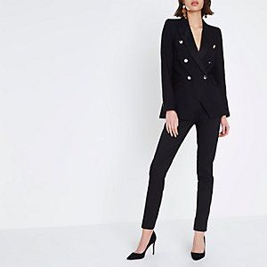 Black satin trim double breasted blazer