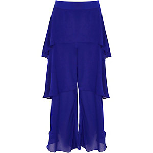 Blue tiered frill culottes