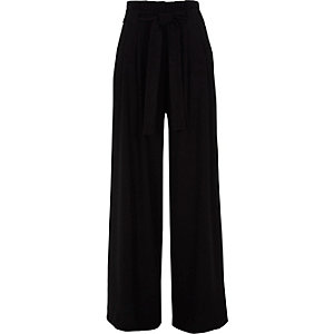 Black tie belt wide leg pants