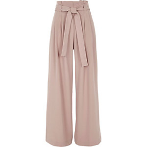 Pink tie belt wide leg pants