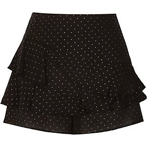 Black and gold polka dot frill skort