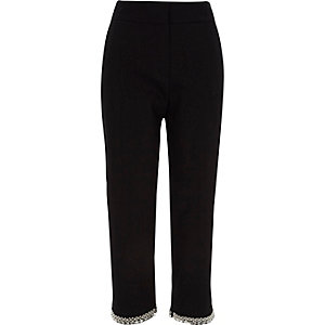 Black embellished hem cigarette trousers