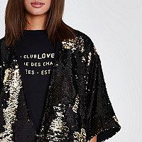 Zwarte en goudkleurige verfraaide kimono met lovertjes