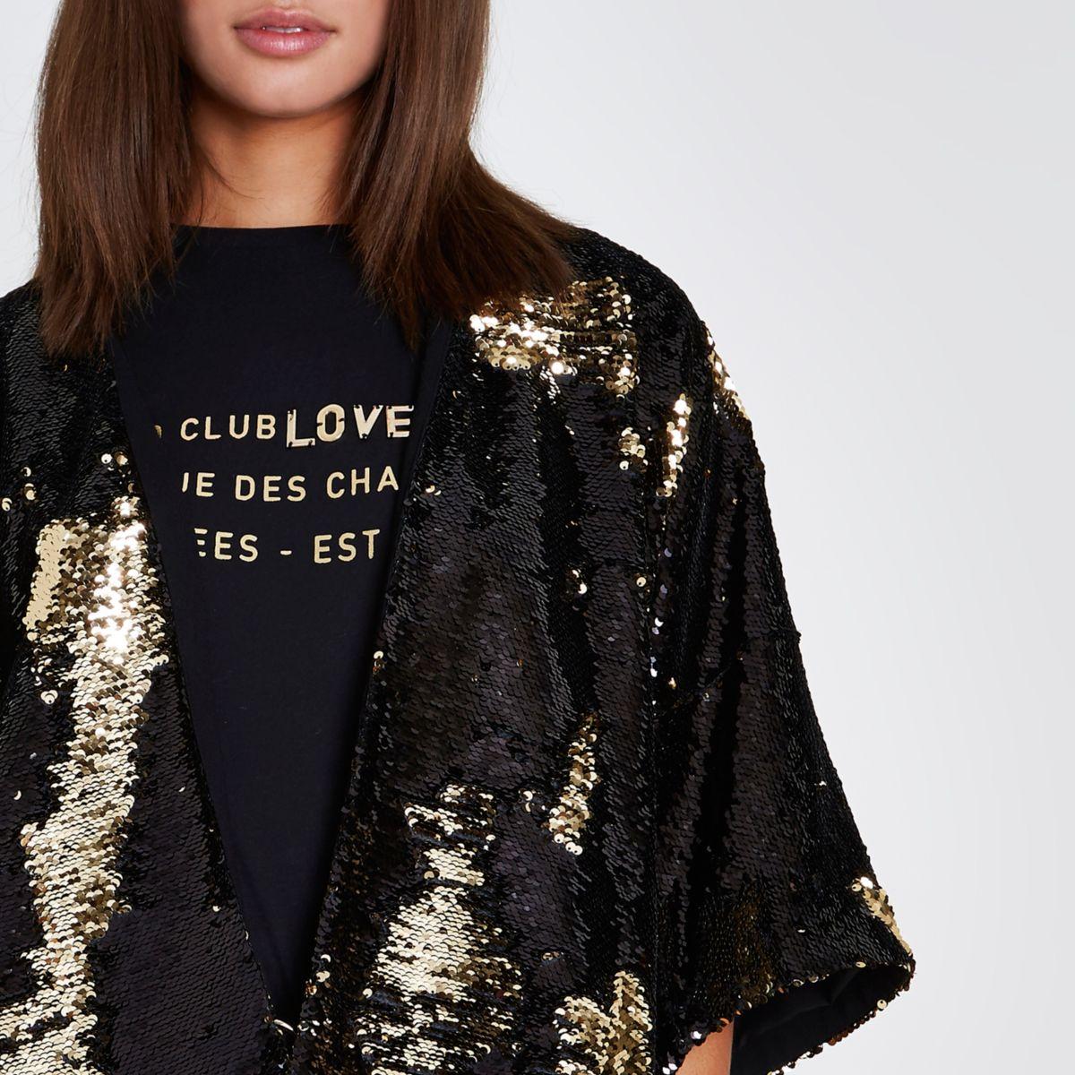 Kimono orné de sequins noir et doré