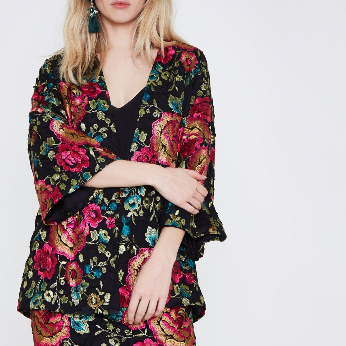 Zwarte jacquard kimono met geborduurde bloemen