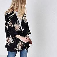Kimono noir à broderies effet dévoré