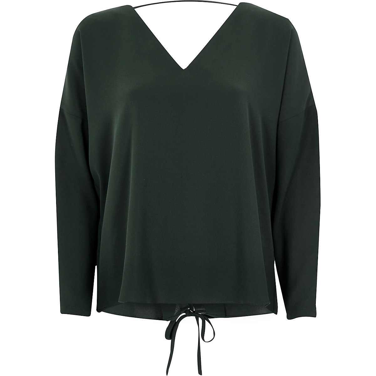 Dark green long sleeve lace-up back top