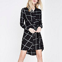 Black check knot tie front shirt dress