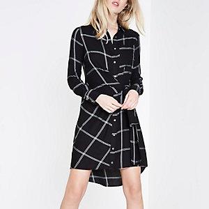 Black check knot tie front shirt dress