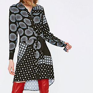 Navy mix tile print knot front shirt dress