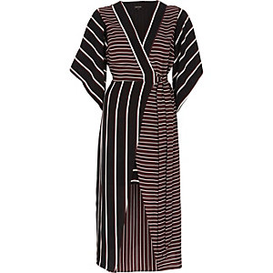 Red mixed stripe kimono sleeve midi dress