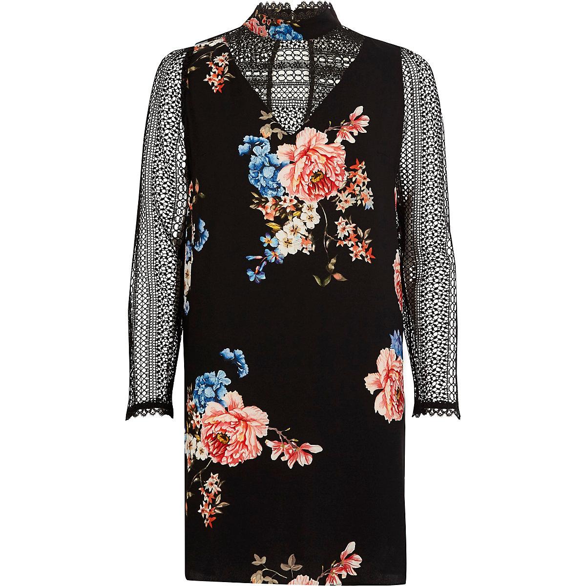 Black floral print lace insert swing dress