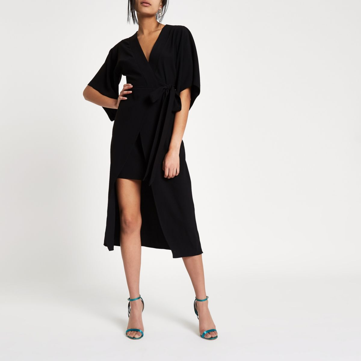 Black kimono sleeve wrap midi dress