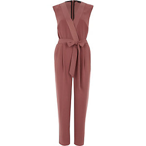 Rust orange tie waist tailored jumpsuit