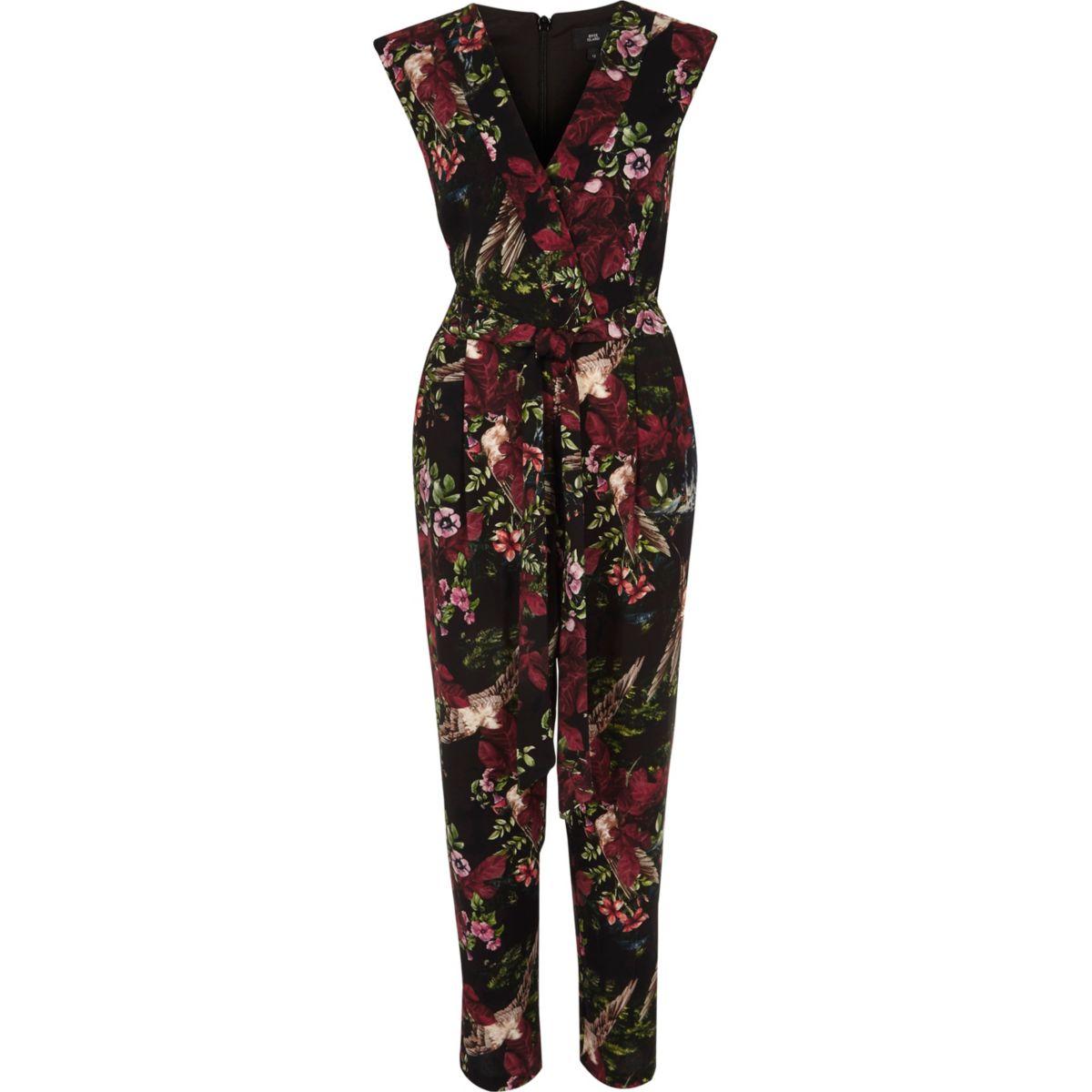 Black floral print tailored jumpsuit