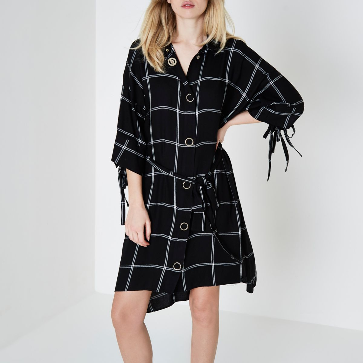 Black window check print popper shirt dress