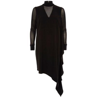 River Island Zwarte jurk met asymmetrische zoom en mesh paneel