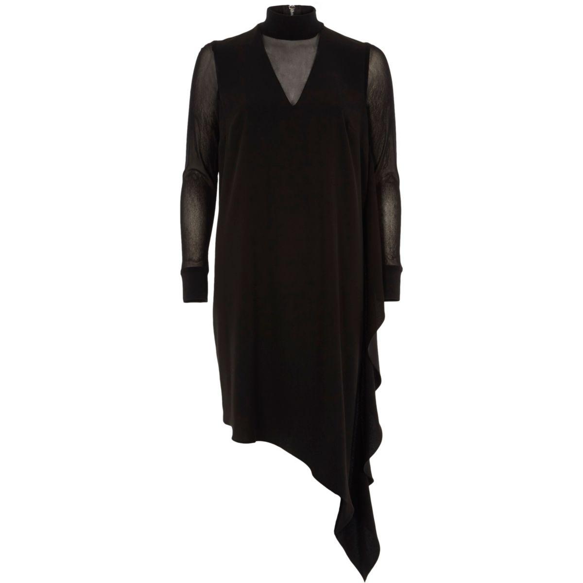 Zwarte jurk met asymmetrische zoom en mesh paneel