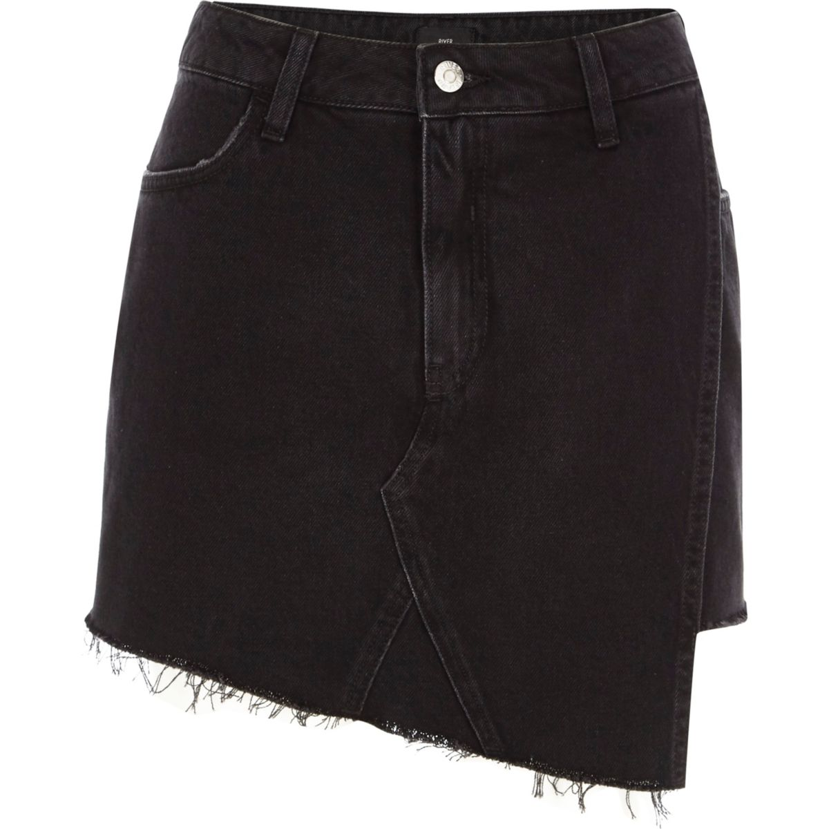 Black frayed hem wrap denim skort