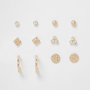 Gold tone battered disk stud multipack