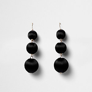 Black triple ball drop earrings