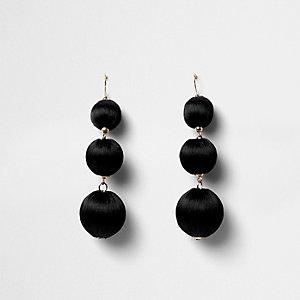 Black triple ball drop earrings