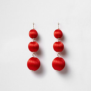 Red triple ball drop earrings