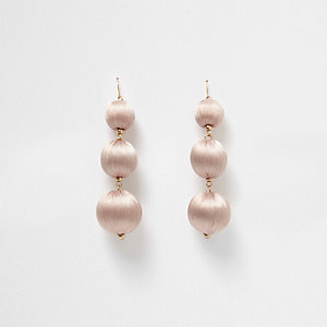 Nude triple ball drop earrings