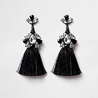 Black rhinestone triple tassel earrings