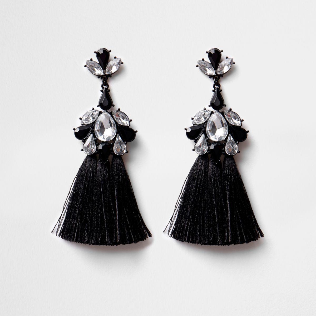 Black diamante triple tassel earrings