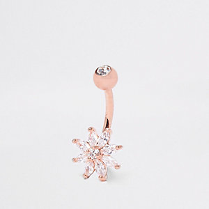 Rose gold tone flower belly bar