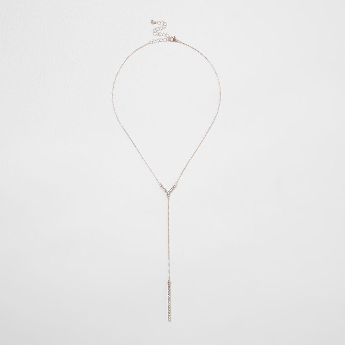 Rose gold tone diamante encrusted Y necklace