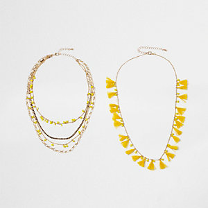 Yellow tassel bead multilayer necklace set