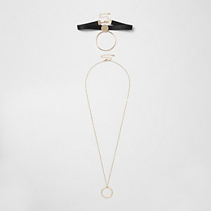 Black circle drop choker set