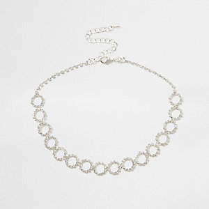 Silver diamante encrusted circle chain choker