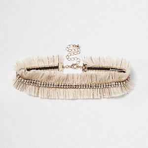 Cream metallic frayed rhinestone choker