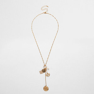 Gold tone charm dangle twist chain necklace