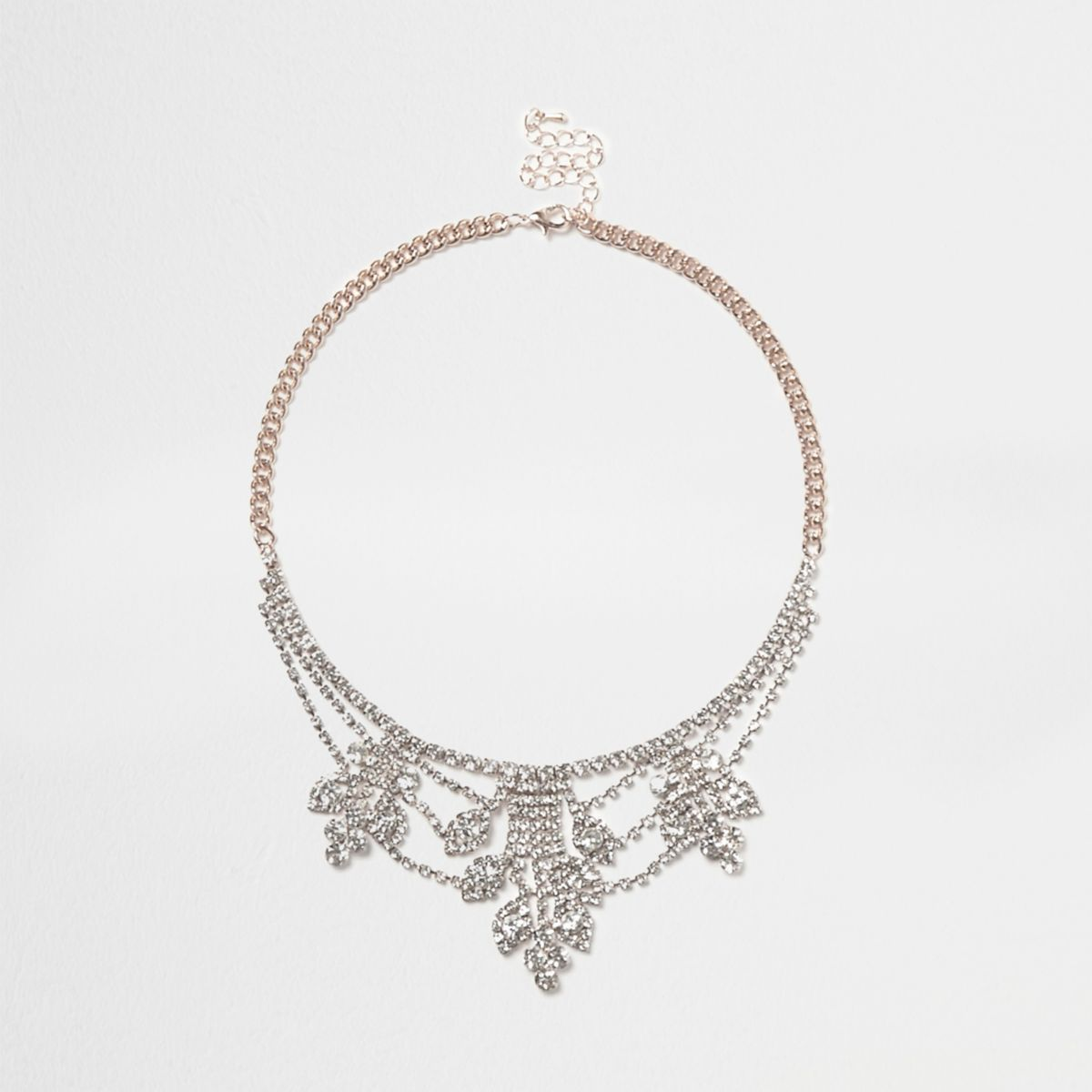 Rose gold tone cup chain statement necklace