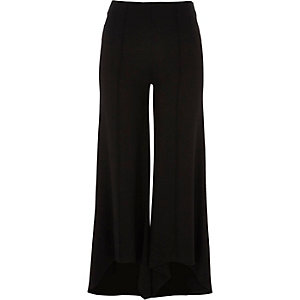 Black flared jersey trousers