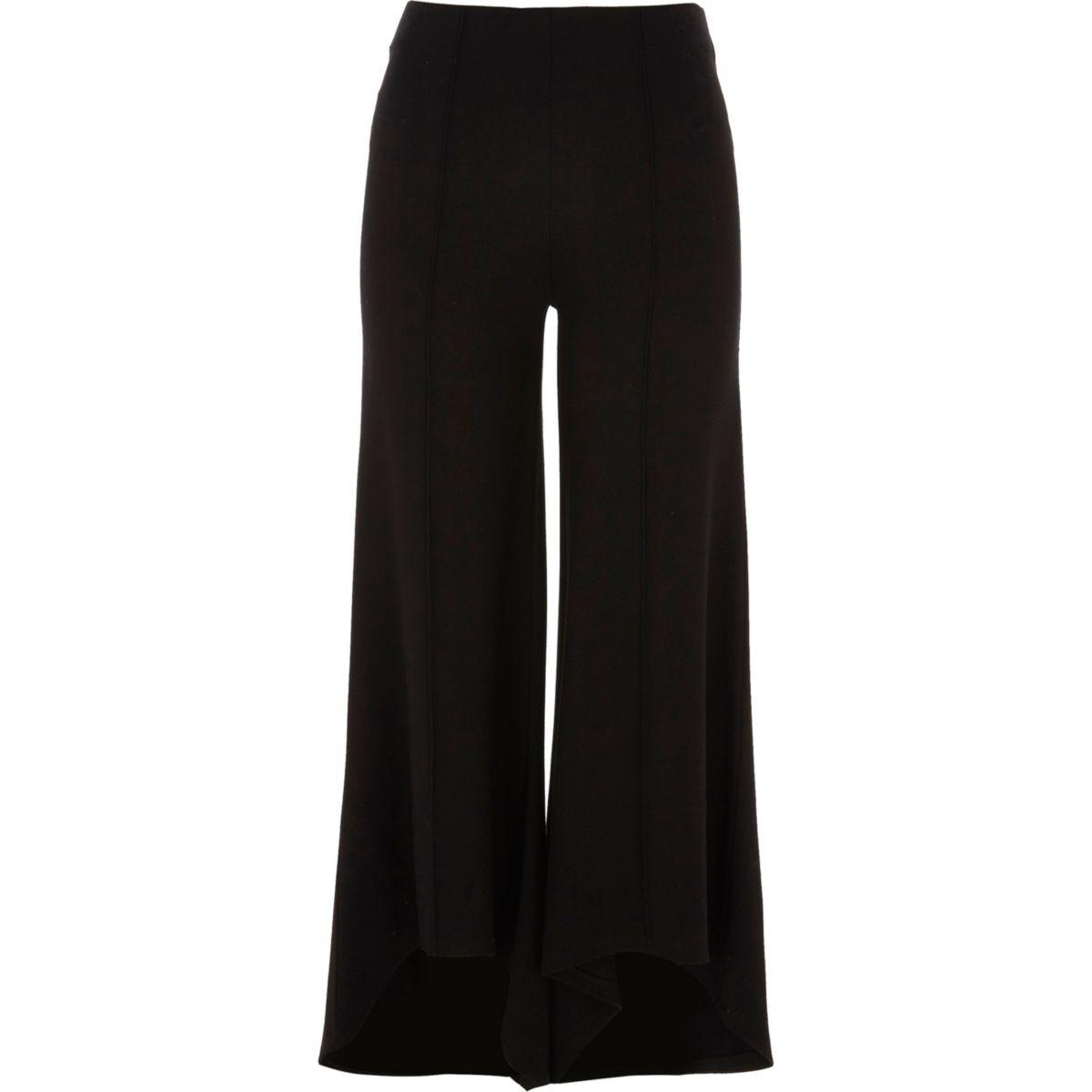 Zwarte wijduitlopende jersey broek