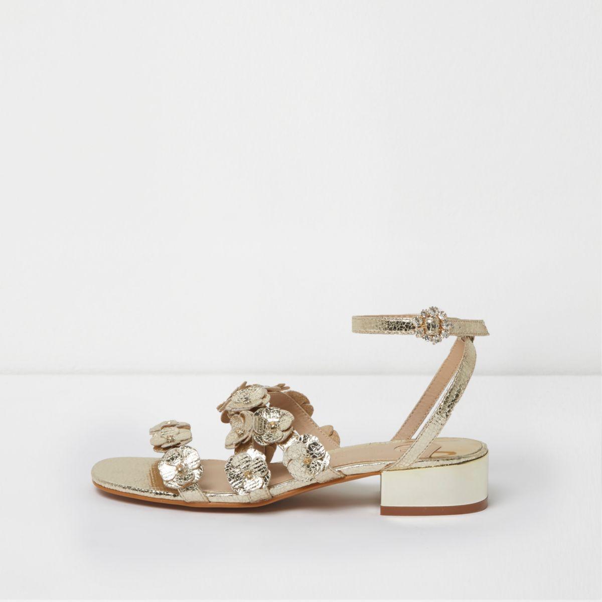 Gold metallic 3D flower strappy sandals