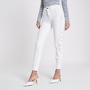 White ruffle side Amelie super skinny jeans