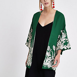 Groene geborduurde kimono met bloemenprint