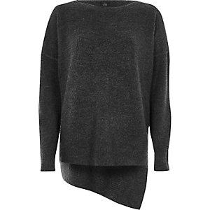 Donkergrijze asymmetrische pullover