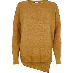 Mustard yellow asymmetric jumper